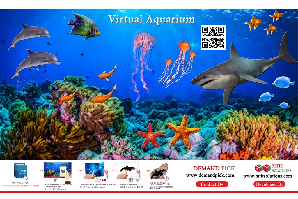 QR code on virtual aquarium with sea animals and coral poster