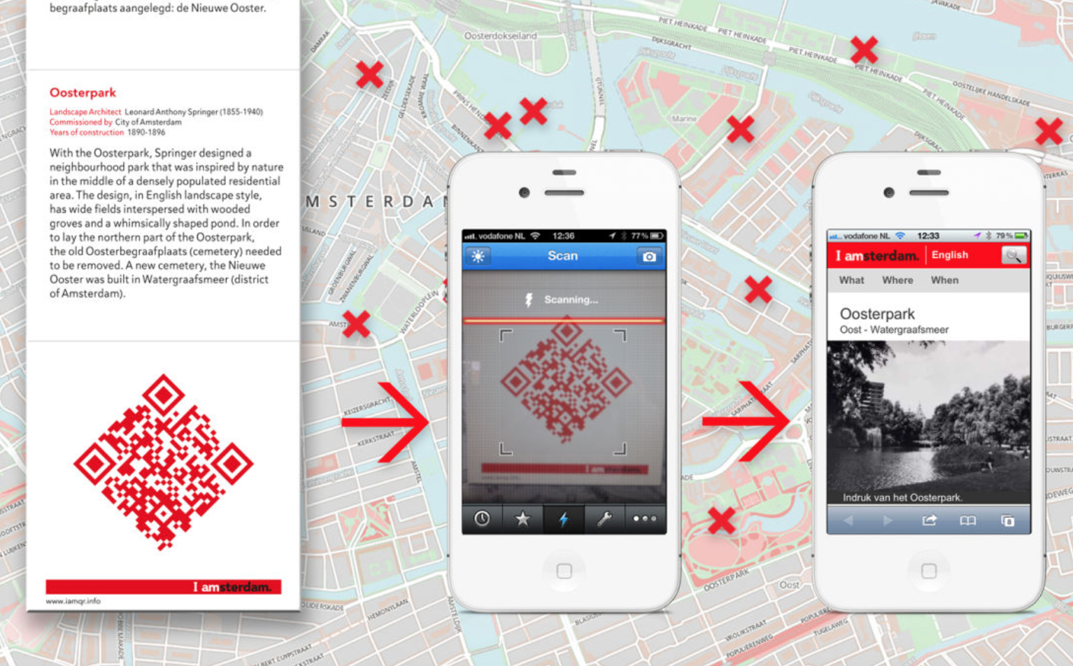 mobile phones with QR codes scanning to amsterdam map in the background