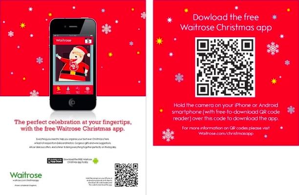 QR code waitrose app on christmas advert with mobile phone