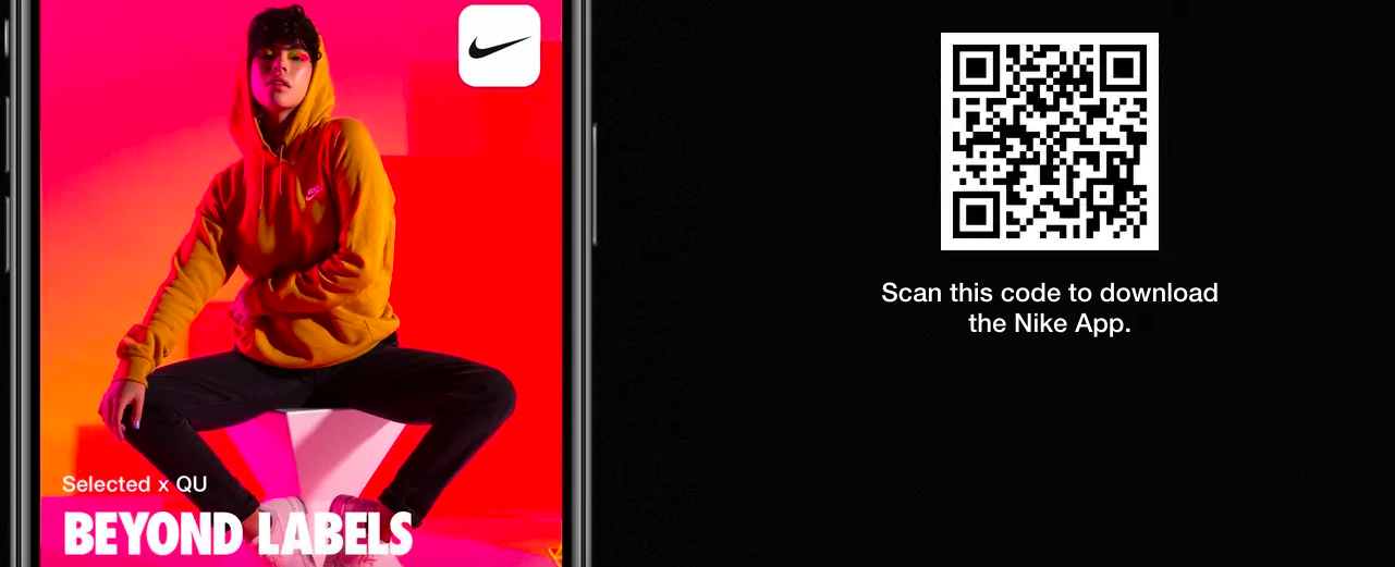 download the app QR code app with nike male model