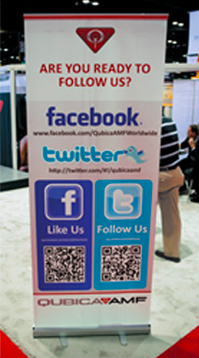 QR code banner for social media accounts at trade show for qubica amf