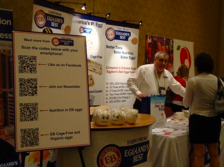 QR codes at eggland's best trade show booth