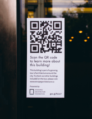 QR codes self-guided tours for winnipeg architecture
