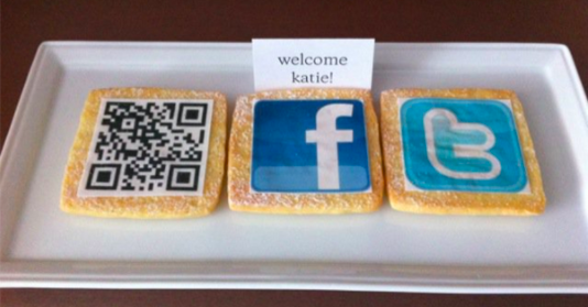 the westin cookie platter with social media and QR code cookies