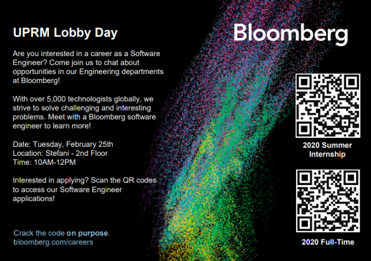 bloomberg facebook advert with QR codes for job listings