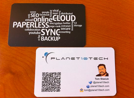 QR code business cards for planet 10 tech