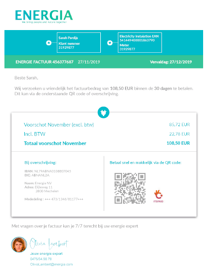 energy bill with a QR code