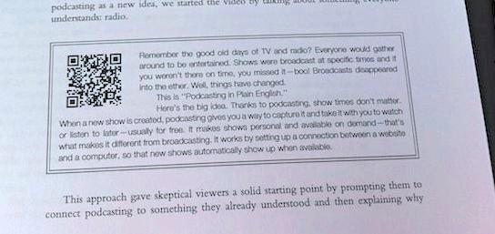 QR code in textbook caption