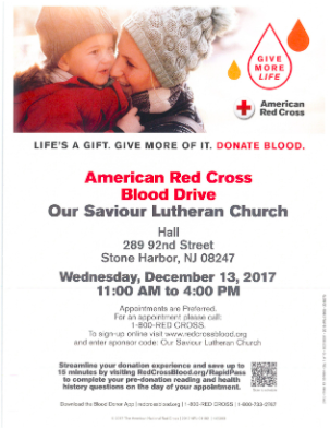 advert with QR code for American Red Cross blood drive with mother and son