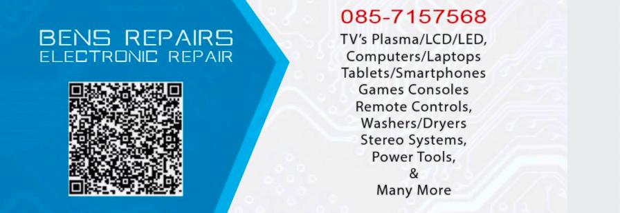 QR code on ben's electronic repair advertisement
