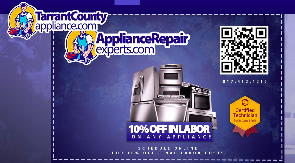 discount qr code advertisement for appliance repair experts at tarrant county appliance