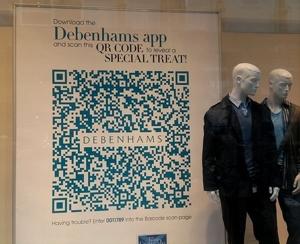 debenhams window display qr code with mannequins in front