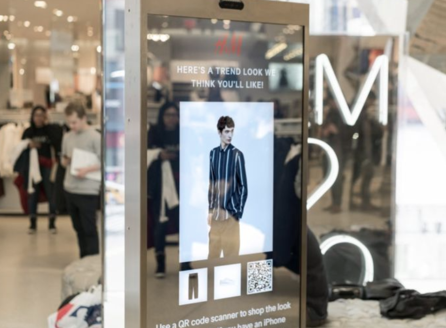 qr code H&M clothes collection on a display in a shopping mall