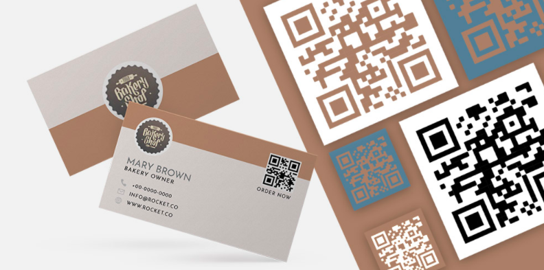 qr code business cards beige and white