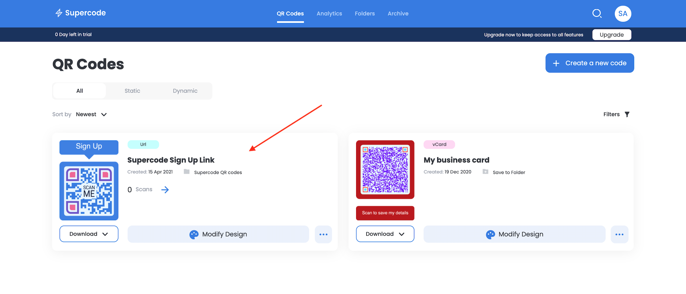 save the qr code on supercode dashboard