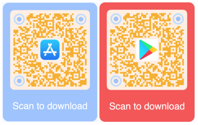 App QR code for Apple Store and Google Play
