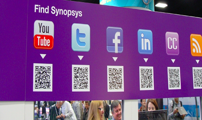 black and white social media qr codes on a purple banner
