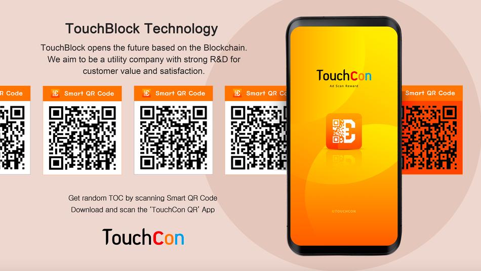 touchcon qr code advertisement in orange tones