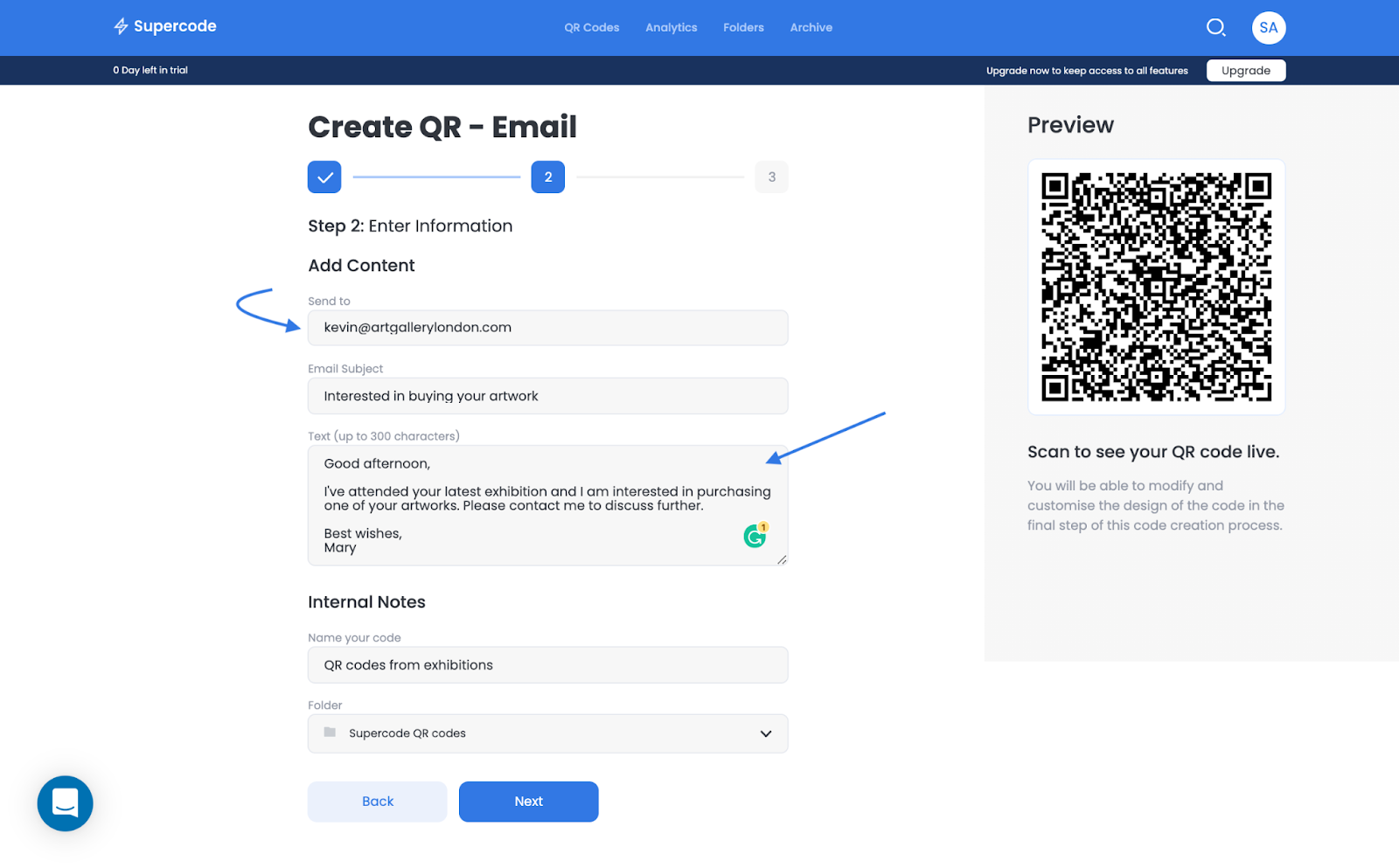 create an email qr code on supercode's dashboard