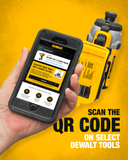 dewalt tweet mobile phone scans qr code contest