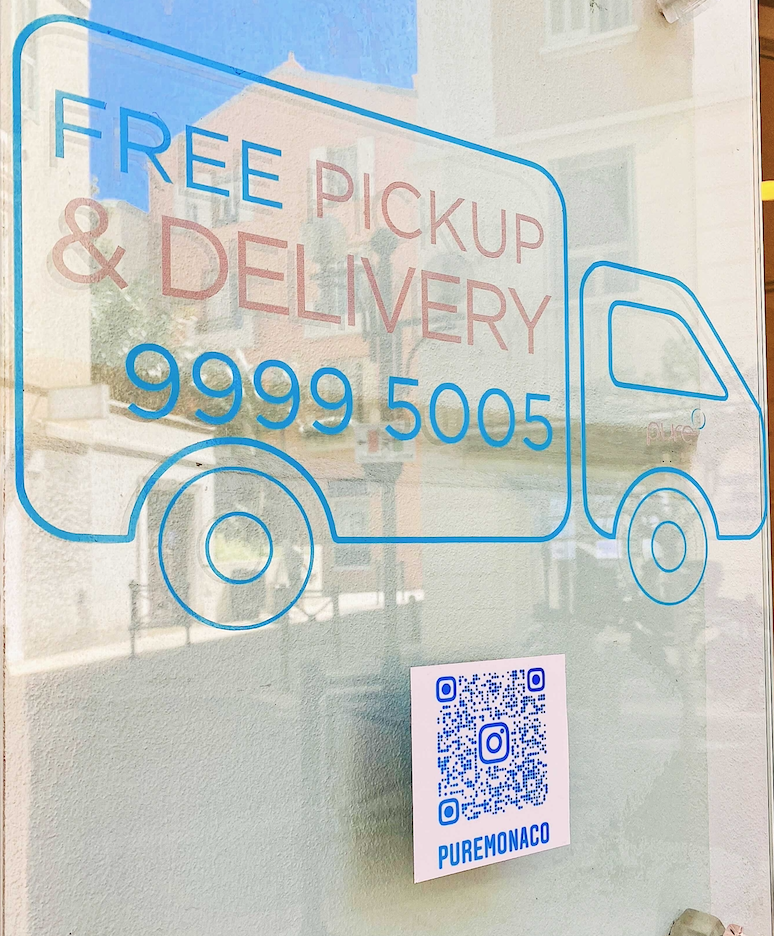Instagram QR code on the wall sign for laundry services