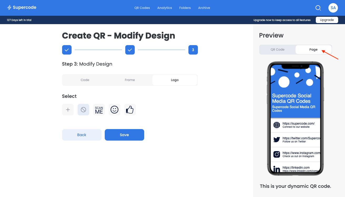 create qr code modify the design screen supercode