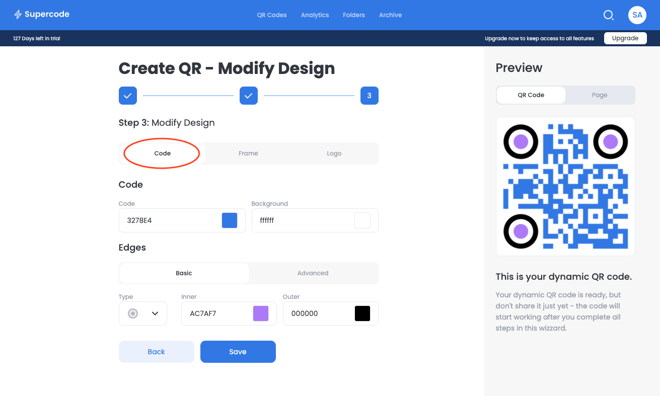 create qr code modify design screen