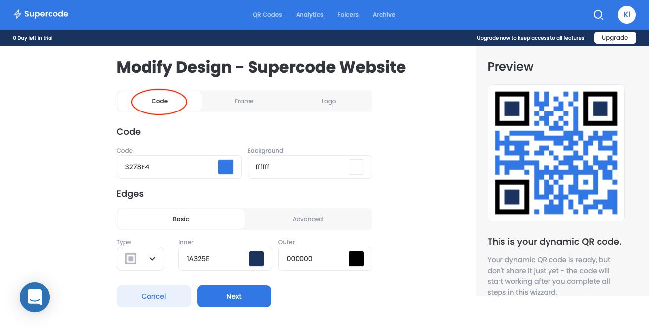 modify url code qr code generator screen