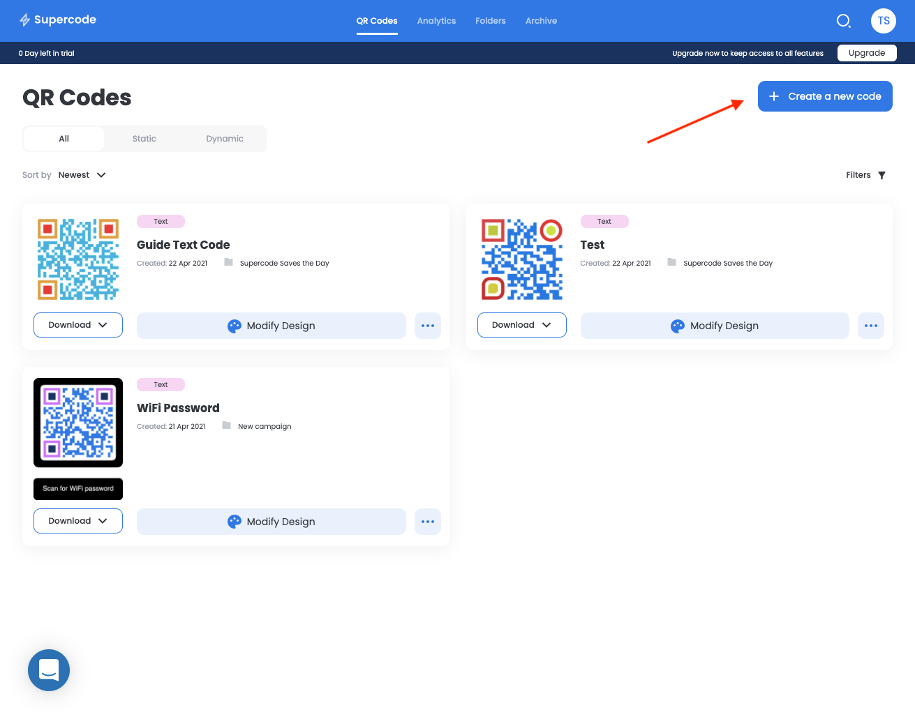 supercode dashboard with colorful qr codes