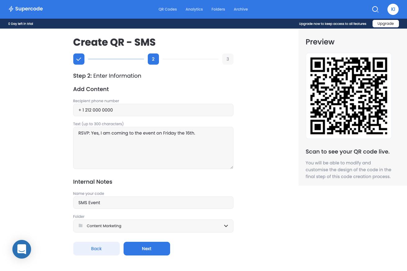 sms qr code add content screen