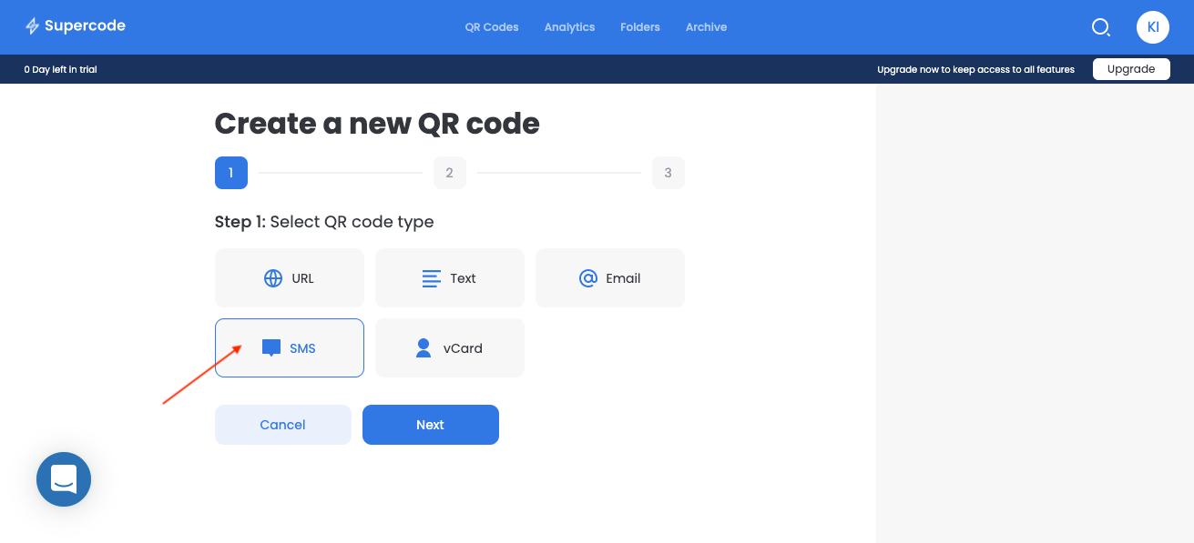 create new sms qr code generator screen