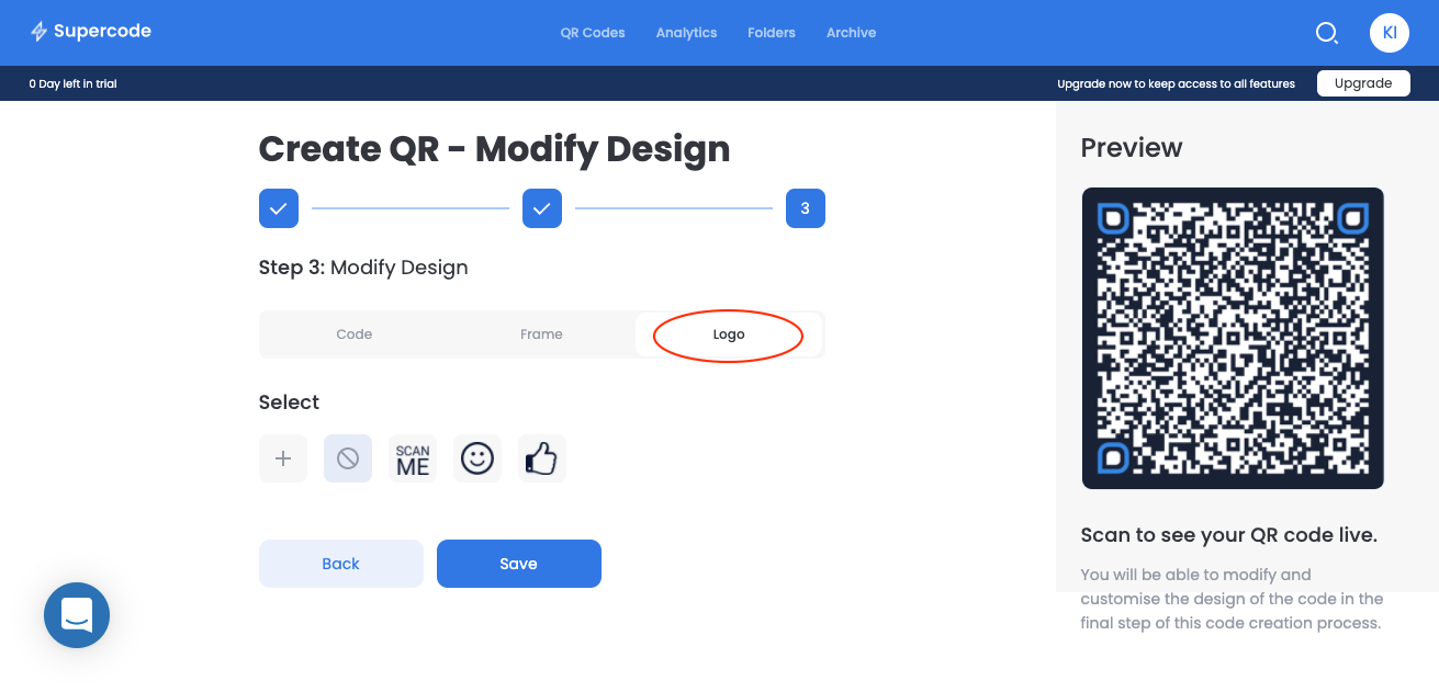 modify vcard qr code logo screen