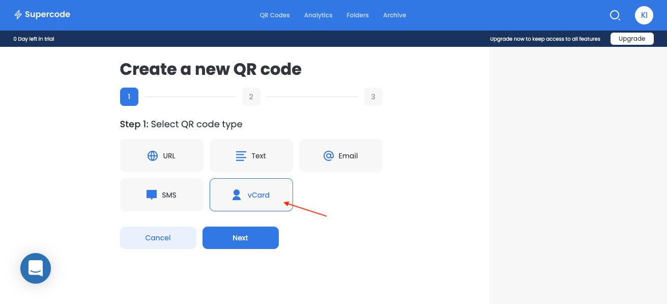 create new vcard qr code screen
