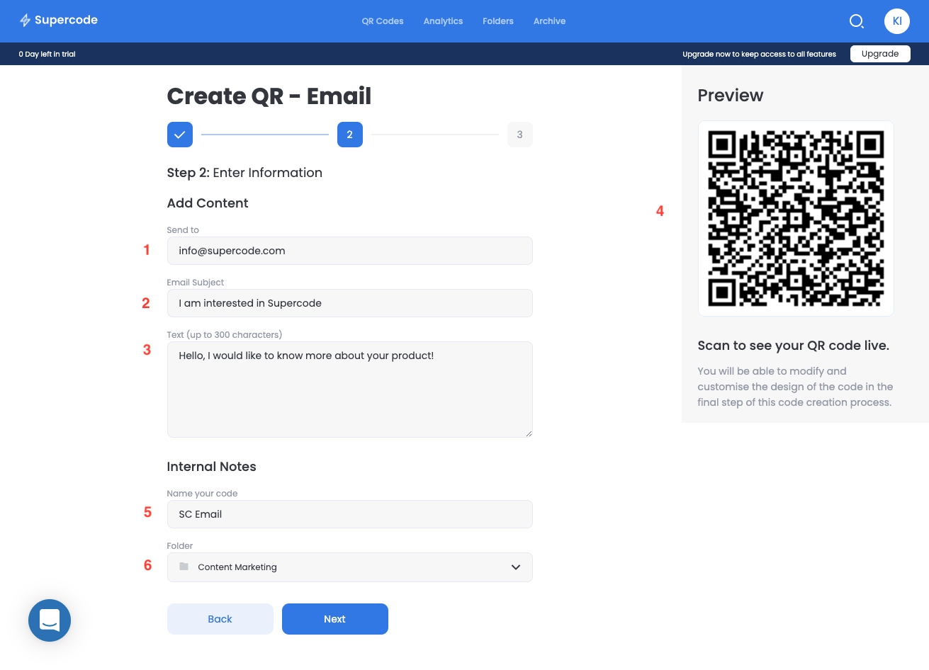 add content to create email qr code generator screen