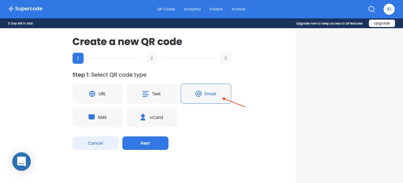 create new email qr code screen