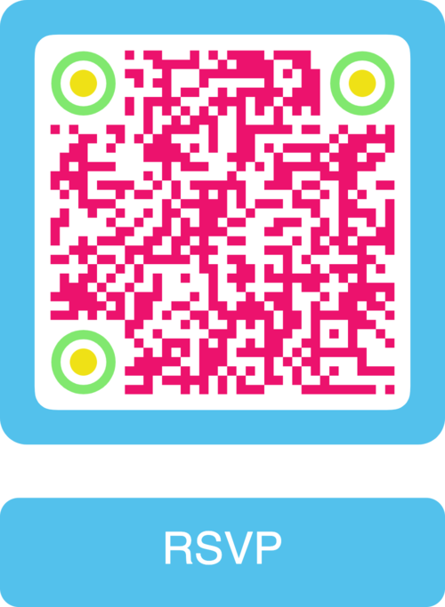 pink rsvp sms qr code with turquoise frame