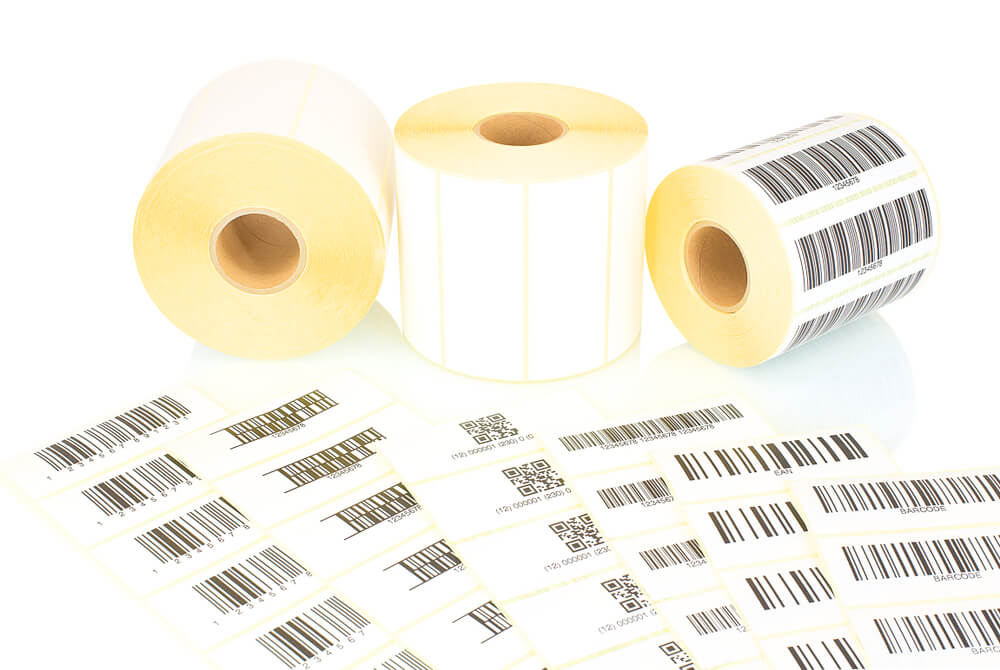 qr code and barcode stickers on rolls