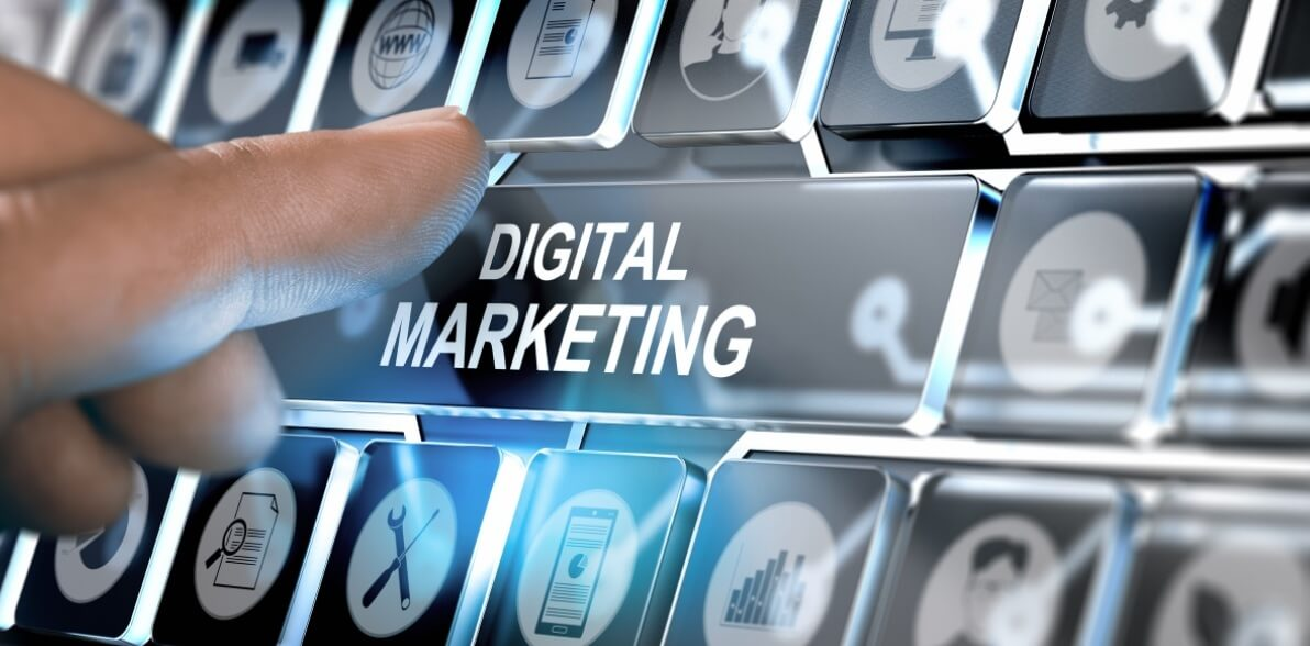 Digital marketing button on a keyboard