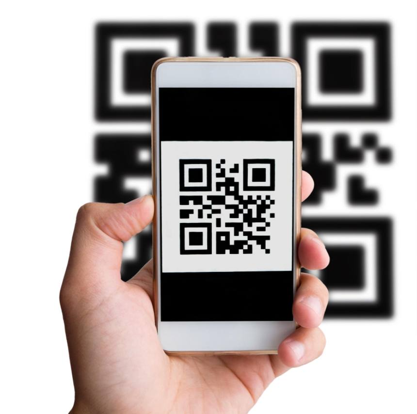 plain QR code on the mobile display