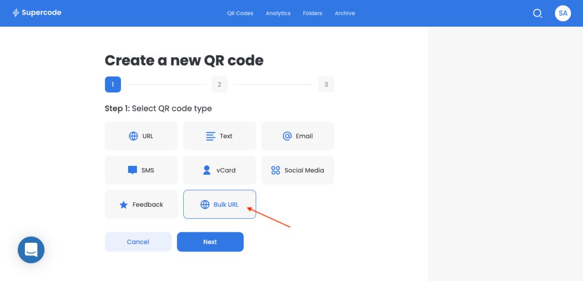 choose bulk qr codes for url