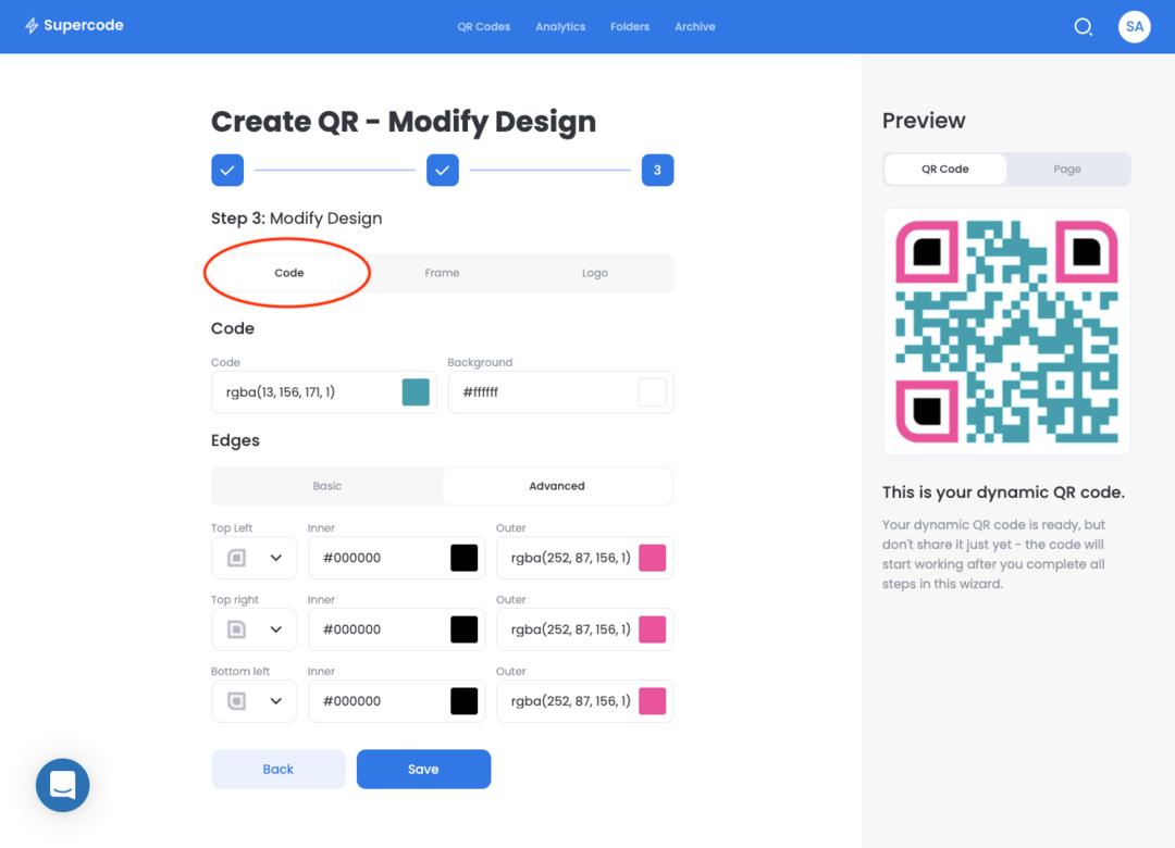 create qr code modify design