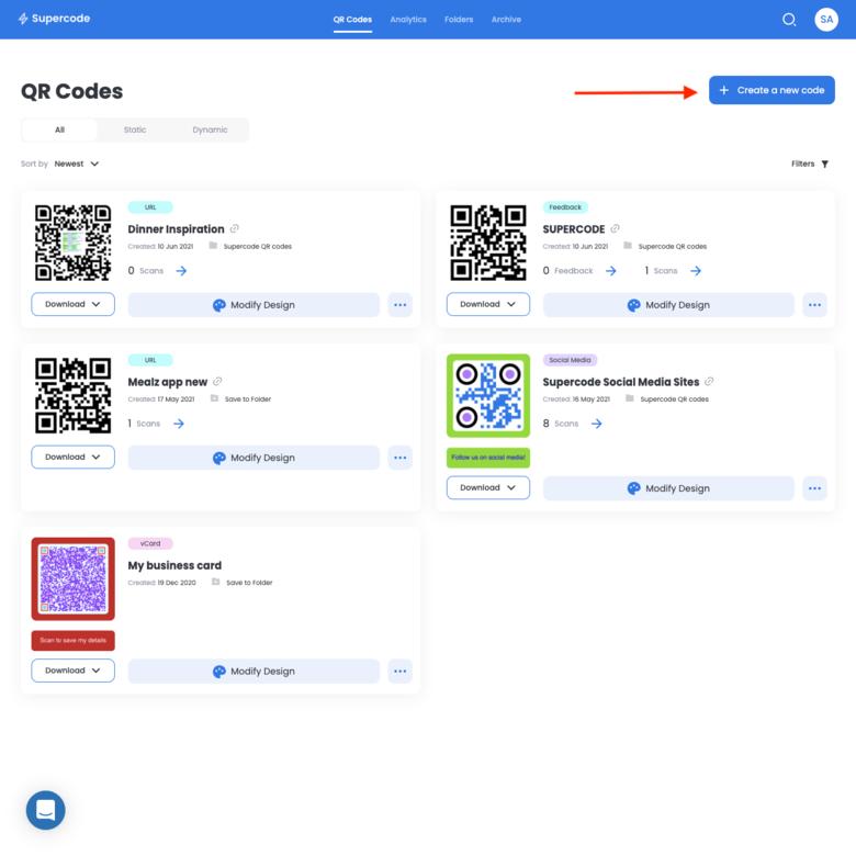 supercode dashboard create new QR code