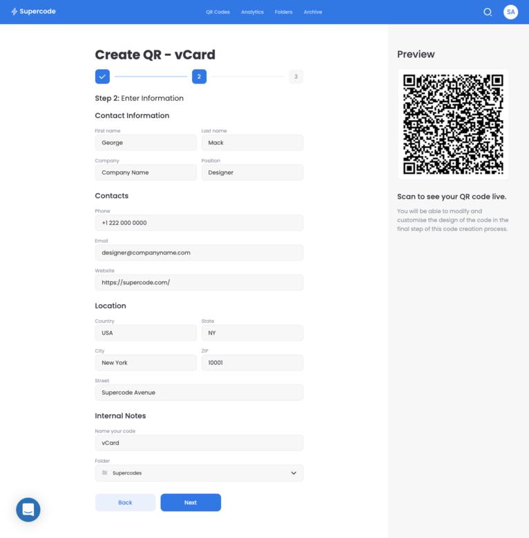 create a vcard qr code