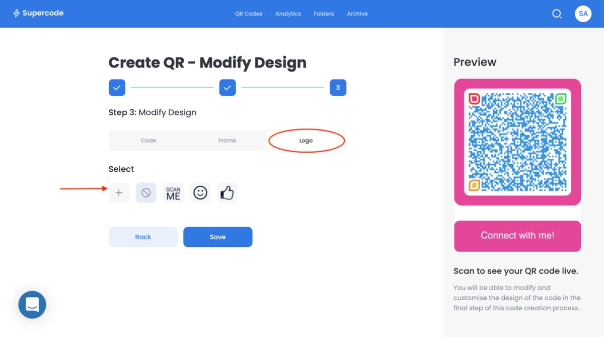 modify the qr code logo