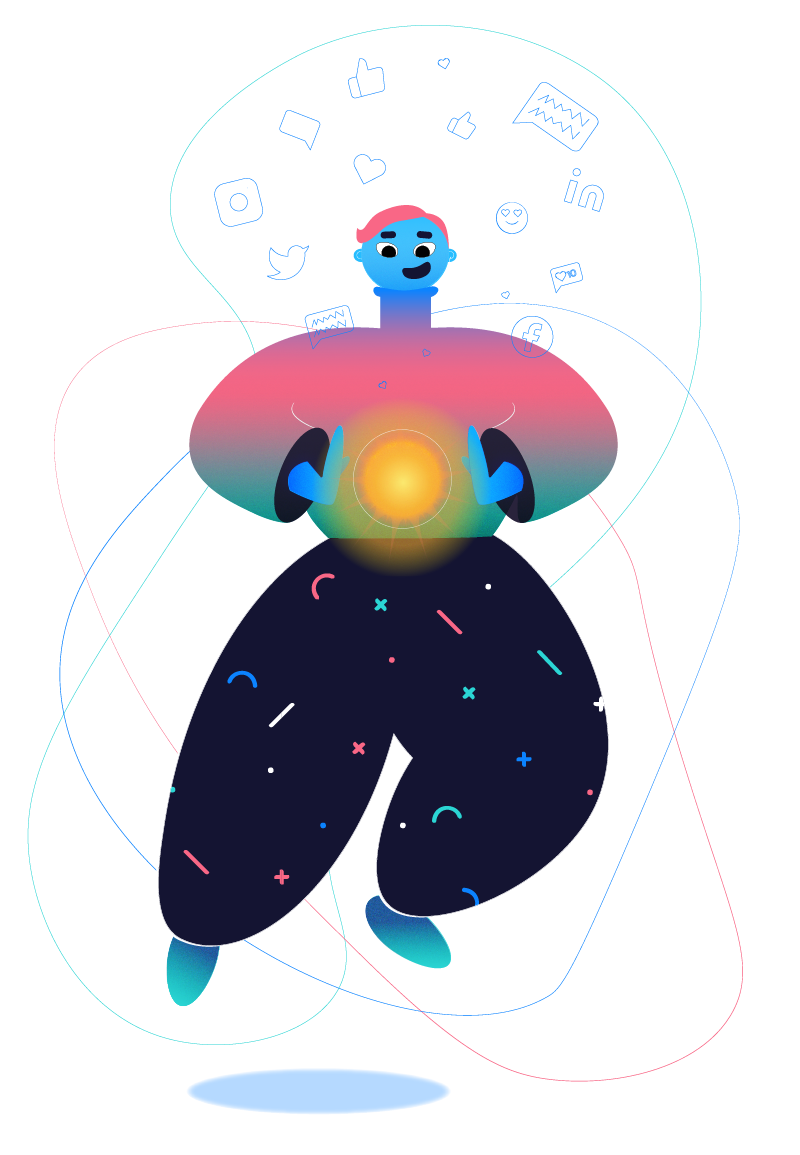 An adorable illustration of a gender-neutral person in colorful clothing... They have social media icons floating above their head in a messy cloud, and are holding a glowing orb. The implication is they are harnessing the power of social media.