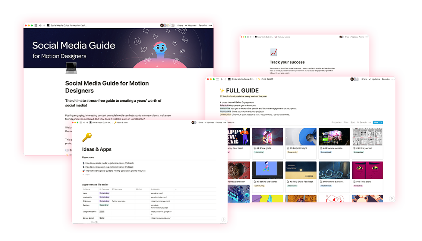 Screen shots of the Social Media Guide for Motion Designers