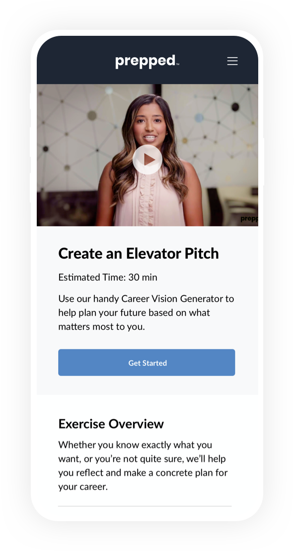 A mobile phone with create an elevator pitch exercise