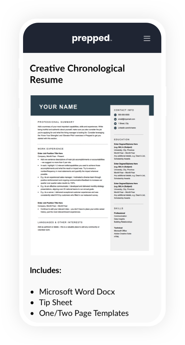 A mobile phone with free resume templates