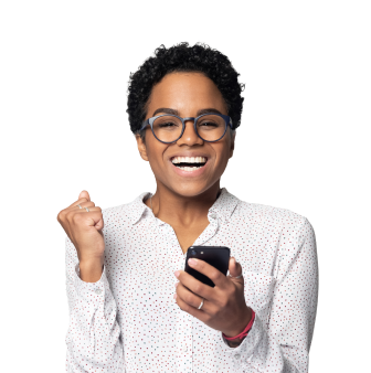A woman holding phone smiling