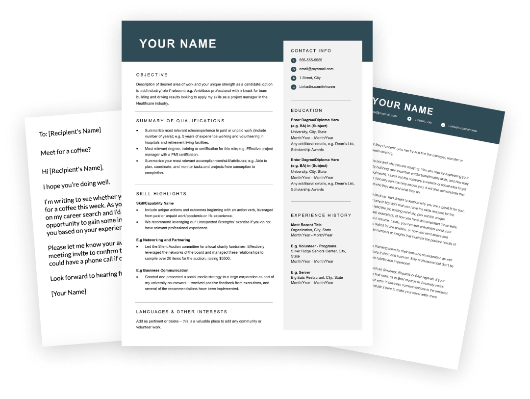 Resume, cover letter, email and message templates
